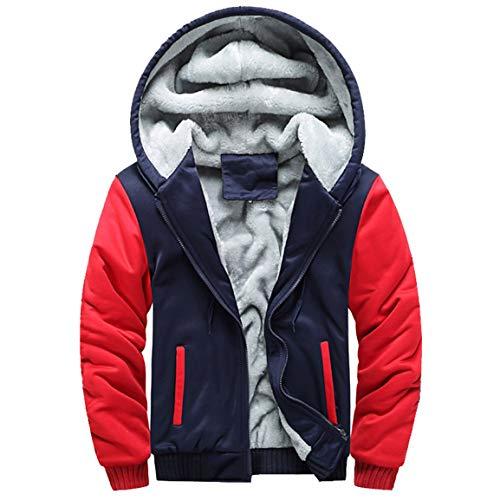 Herren Kapuzenjacke Man Boy Hoodie Winter Windjacke Warmer Fleece Reißverschluss Pullover Jacke Patchwork Outwear Mantel Tops Blusen Moonuy -