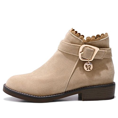 Zanpa Femmes Pull on Bottes Booties Boucle Strap Beige