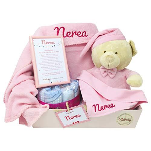 MabyBox Ternura | Canastilla Bebé Regalo | Regalo bebé | Cesta de Recién nacido Personalizada Rosa...