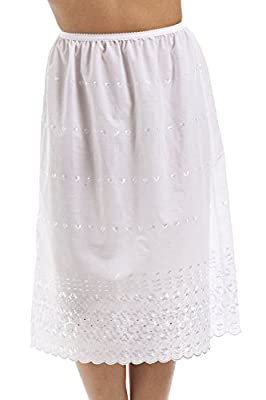 Camille Womens Ladies Classic White Embroidered 26'' half slip