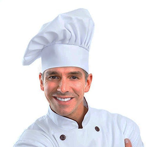 . verstellbar Pilz Chef Hat für Gebäck Küche Kochen Chef Works (weiß) ()