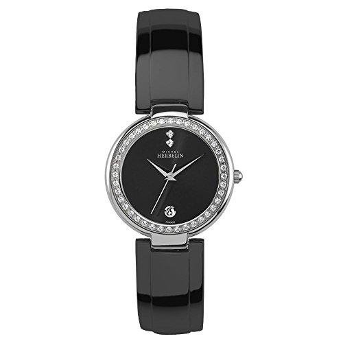 Michel Herbelin Women's Black Steel Bracelet & Case Quartz Watch 14262/40XBN54
