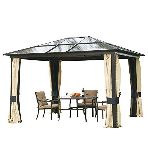 HOMCOM Outsunny Luxus Pavillon Gartenpavillon Alu Partyzelt Gartenzelt mit lichtdurchlässigem PC Dach