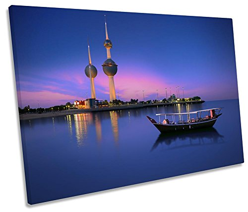 Canvas Geeks Kunstdruck auf Leinwand, Motiv Kuwait Towers Cityscape, gerahmt, 1 Stück, 120cm Wide x 80cm high - Kuwait Towers