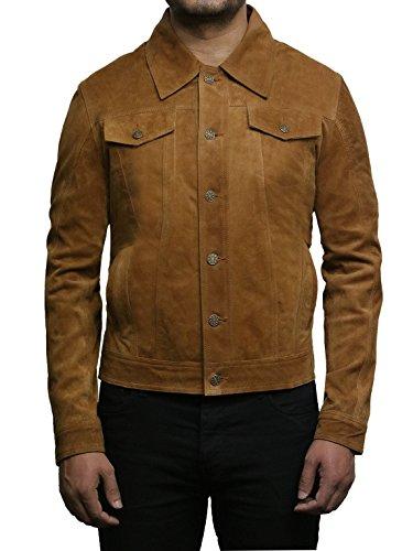 Brandslock Herren Leder Biker Jacke Trucker Casual Tan Ziege Wildleder Leder Shirt Denim Jeans Style (L, Hallbraun)
