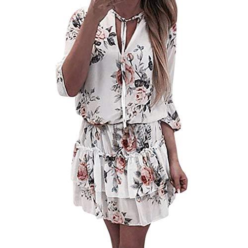 MAYOGO Damen Lässig Luftige Leichte Sommerkleider Freizeitkleider Damen Kurz Minikleid Tunikakleid Empire Kleid Schnüren Layered Volant Kleid Weiße Kleid Grau Blumenkleid V-Ausschnitt Elegant Schick