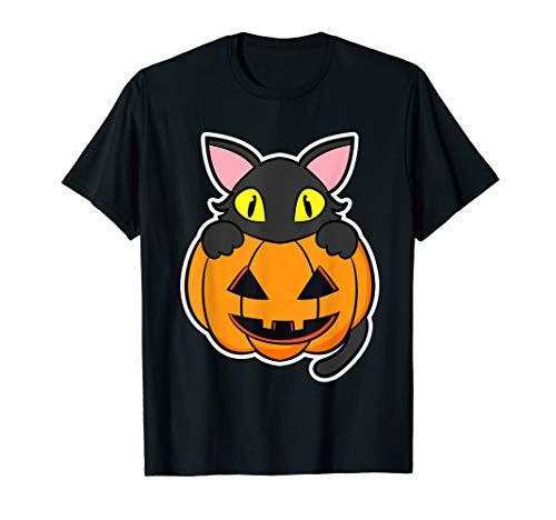 Funny Happy Halloween Schwarze Katze Kürbis Damen Herren T-Shirt