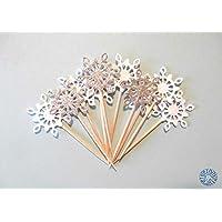 Kit 10 cupcake toppers, stuzzicadenti per feste con fiocco di neve per decorare la tavola per Natale, capodanno, compleanno, festa a tema frozen