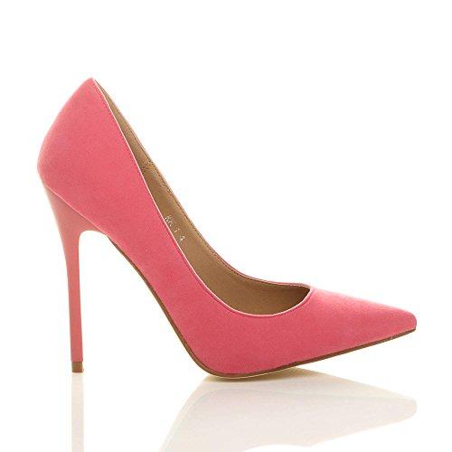 Donna tacco alto lavoro festa elegante scarpe de moda décolleté a punta taglia Pastello Corallo salmone rosa scamosciata