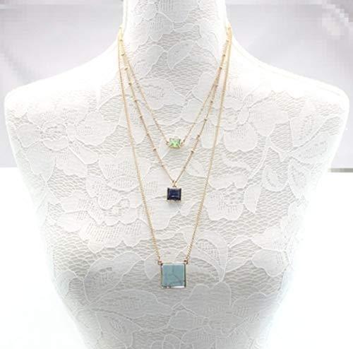 Square Marmor (CJMDEH Halskette,Bunte Mode 2-In-1-Halskette Damen Square Künstliche Marmor Stein Anhänger Fashion Party Accessoires Schmuck)