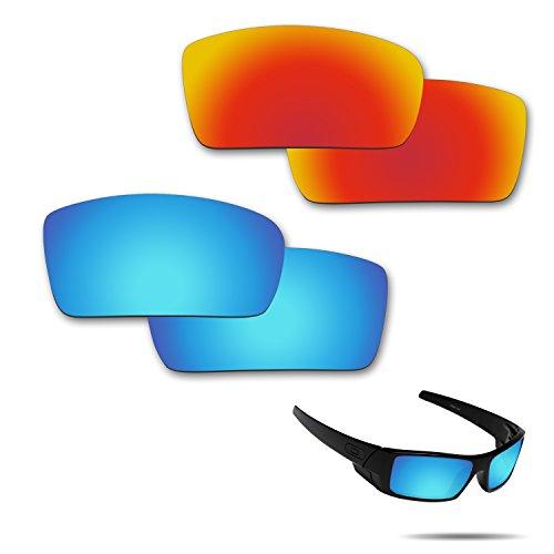 Fiskr Anti-Salzwasser-Polarisierte Ersatzgläser für Oa-kley Gascan Sonnenbrillen, 2 Paar, Herren, Fire Red & Ice Blue
