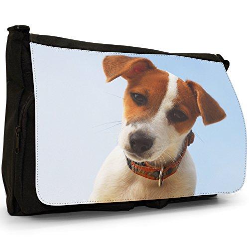 Jack Russell Terrier cane grande borsa a tracolla Messenger Tela Nera, scuola/Borsa Per Laptop Portrait Of A Jack Russell Dog