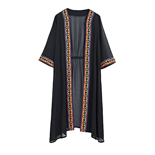 Zhuhaitf Ladies Chiffon Lightweight Cardigan Komfortabel Beachwear Sun-protection Open Front Mode Blouse with Flower Trims (Open-front Cardigan Lightweight)