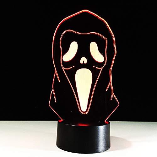 3D Bunte Gradienten Atmosphäre Halloween Maske Schreibtisch Tischlampe Kinder Schlafzimmer Wohnkultur Beleuchtung Led Geister Nachtlicht ()