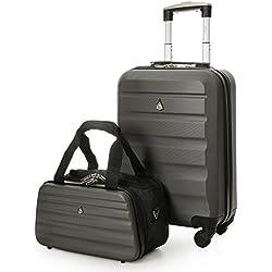 Aerolite 55x35x20cm 33L Leichtgewicht 4 Räder ABS Hartschale Koffer + Ryanair 35x20x20cm Tasche Maximale Handgepäck Größe, Koffer (Kohlegrau) + Tasche (Schwarz/Grau)
