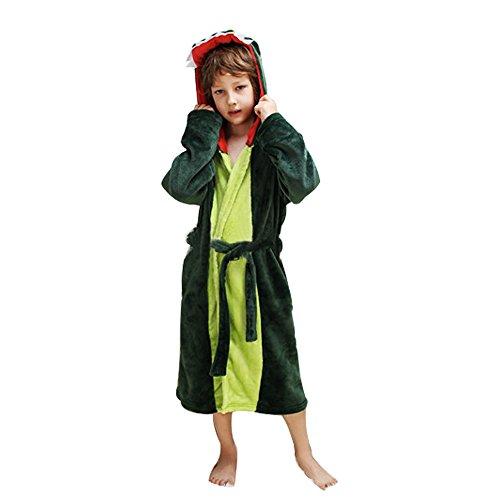 Kostüm Flanell Grüne - Mystery&Melody Kinder Einhorn Bademantel Flanell Mit Kapuze Süss Schlafanzug Cosplay Kostüme Tiere Ankleiden Unisex (S, Grün Drachen)