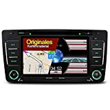 A-Sure 7 Zoll Autoradio GPS Navigation DVD GPS unterstützt DAB VMCD RDS Bluetooth USB SD Auto Raido Navi Für Skoda Octavia Yeti Original Kartematerial (49 europäische Länder) V2SOCQ 2-Jahre-Garantie