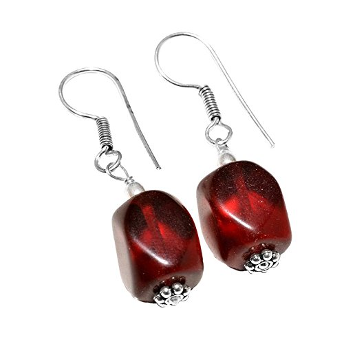 Afashioner's Alloy Oxized Silver Plated Red Onyx Beads Gemstone Dangle Drop Earring For Women