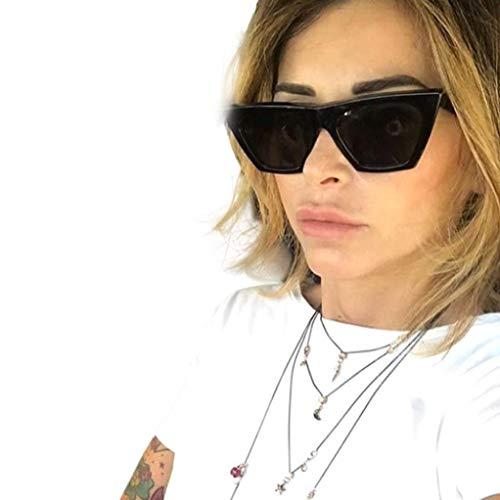 Sonnenbrille Damen Retro,Katzenauge Nerdbrille Sunglasses,Schöne Partybrillen,WQIANGHZI Einfach Chic Goggles Polarisierte Pilotenbrille in vielen Farbkombinationen