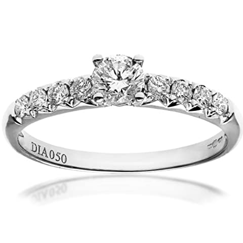 Naava Women's 18 ct White Gold Shoulder Set Engagement Ring, IJ/I Certified Diamonds, Round Brilliant, 0.50ct Size L