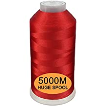 New brothread Rojo Color Poliéster Bordado Máquina Hilo Grande carrete 5000M para todas las máquinas de