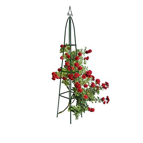 Relaxdays Obélisque de jardin pour roses 40 x 40 cm largeur au sol fleurs fruits support pour rosier pointu 2 m décoration en métal laqué stable tuteur pour plantes grimpantes, vert