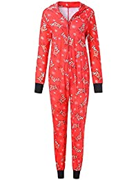 Zolimx Weihnachten Hirsch Drucken-Family Pyjamas Nachtwäsche Eltern-Kinder Outfit Hoodie Strampler Langram Jumpsuit Mit Kapuze Overalls