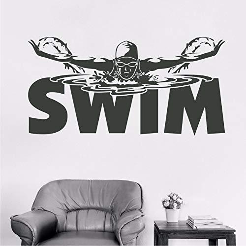 Meaosyy Segnaletica Per Piscina Wall Sticker Vinile Murale Sport Adesivo Art Boy Girl Bedroom Decor Wallpaper Swim Poster 56 *...