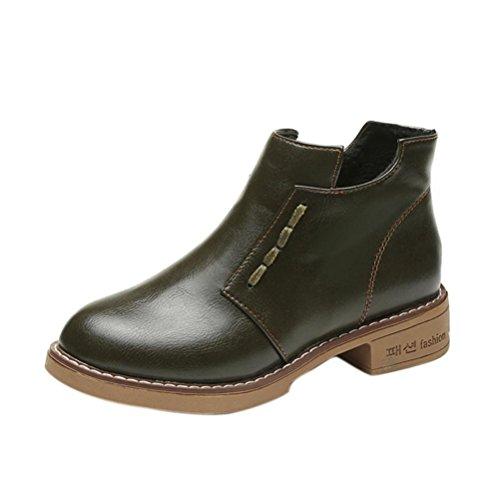 Stiefel Damen Schuhe Sonnena Ankle Boots Frauen kurze Stiefel Women British Stil Martin Stiefel Frühling Herbst Stiefel Outdoor Kunstleder Schlupfstiefel mit Reißverschluss (37, Sexy Grün)