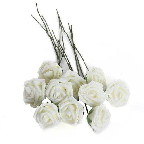Bouquet 10pcs Fleur Artificiel Rose en Mousse Blanc du Lait Déco Mariage Maison