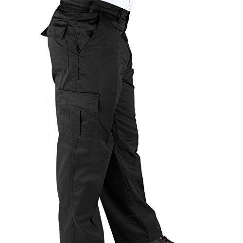 RK Deluxe Cargo Work Trousers Black/Navy/Charcoal (Various Sizes) Men's Combat Worker Trade With Button and Zip Fly Multi Pocket Workwear Pants