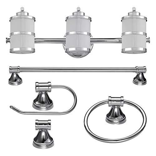 Globe Glühbirne (Globe Electric Kennewick 5-teiliges All-in-One Bad Set, Polierte Oberfläche, 3-flammige Waschtischstange, Handtuchring, Toilettenpapierhalter, Bademantelhaken 51285, chrom)