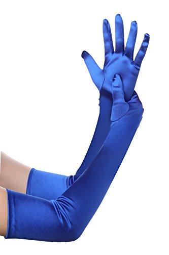 BABEYOND Damen Handschuhe Satin Classic Opera Fest Party Audrey Hepburn Handschuhe 1920er Stil Handschuhe Elastisch Erwachsene Größe Ellenbogen bis Handgelenk Länge 52/55cm (Lang Glatt 52cm / Blau)