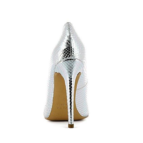LISA Damen Pumps Pythonprägung Silber