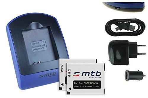 2 Akkus + Ladegerät (Netz+Kfz+USB) für Panasonic DMW-BCN10 / Lumix DMC-LF1 / Leica BP-DC14 / Leica C (Typ 112)