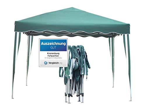 Kronenburg Falt Pavillon Dachmaß 3 x 3 m Gartenzelt Partyzelt in Grün