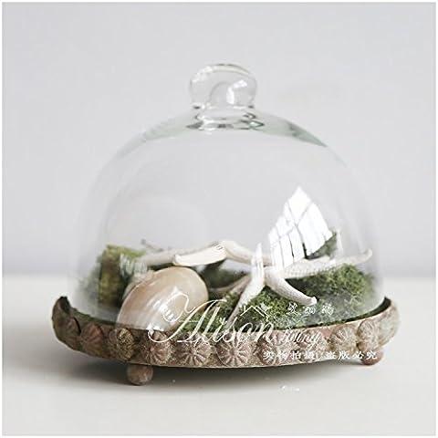LQK-Ornamentos decorativos escritorio del paisaje del bandeja de hierro de tres patas de vidrio película de micro apoyos,