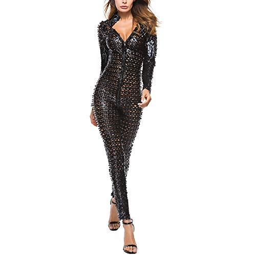 IWEMEK Damen Glanz Catsuit Leder Hollow Jumpsuit Lack Overall Zipper Wetlook Catwoman Transparent Hosenanzug Langarm Bodysuit Cosplay Kostüm Playsuit Latex Body Dessous Nachtwäsche Clubwear Schwarz M