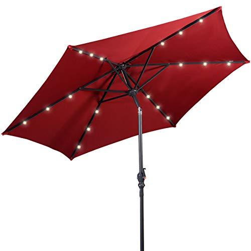 Costway Parasol Déporté Excentré HexagonaleØ 270 CM Eclairage LED Parasol de Jardin avec Tube d' Acier Pulvérisé et Manivelle Rotative pour Jardin Terrasse et Piscine (Bourgogne)