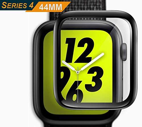 Genieforce® Premium 3D Full Screen Coverage iWatch 44mm Gorilla Schutzglas Schutzfolie Panzerfolie für Apple Watch 44mm Series 4 - HD+ Kristal KLAR - SCHWARZER Kanten ⭐️⭐️⭐️⭐️⭐️ Hd-serie