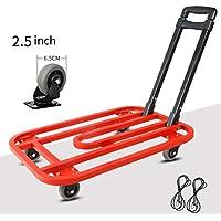 LKW-Wagen-Hochleistungsflachbett-Transport, Plattform-faltende Handlaufkatze mit 4 2.5inch Rädern, faltender Plattform-Wagen-Rollenflachbett-Wagen-Handplattform-LKW-Stoß (Farbe : Red)