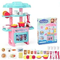 little hands mini kitchen set for kids - 47 pcs cartoon themed series kitchen play set with full utensils set (Multi…