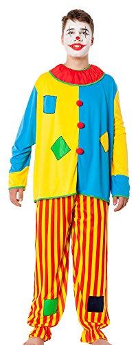 spass42 Herren Kostüm Clown Anzug Harlekin Narr Zirkus Narren Männer Verkleidung Horror Halloween Groesse: - Clown Narr Kostüm