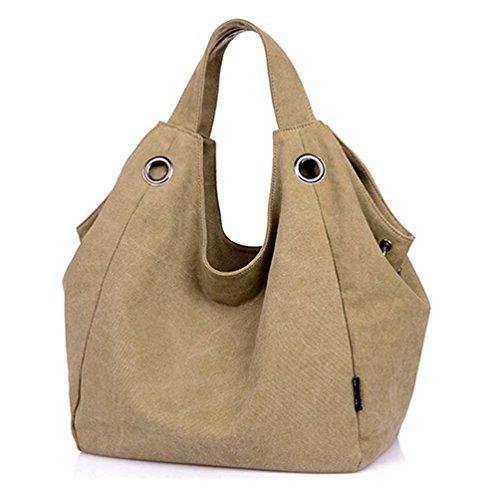 Hobo-khaki (KISS GOLD Damen Schultertasche Canvas Totes Hobo Bag mit einfachem Stil, Khaki)