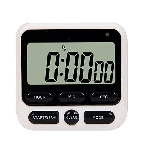Reloj despertador, saytay temporizador de cocina digital reloj de tiempo electrónico LCD cuenta atrás con pie soporte para luz de flash, ajustable y intensidad de sonido blanco