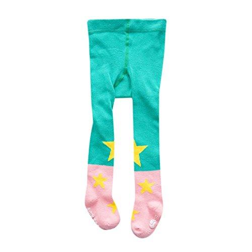 Hirolan Baumwolle Strumpfhose Strumpfhose Strumpf Star Füßig gemütlich Socken zum schön Neugeboren Baby Mädchen Kleinkind Kinder Blau Rosa Grün Farbe (M, (Kopf Großer Kostüm Kaninchen)