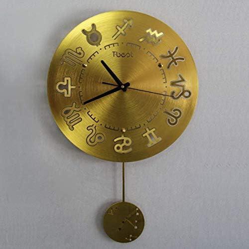 DollylaStore Horloge Murale Salon Moderne Douze Constellation Horloge à Quartz en métal créative, Or ( Color : Gold ) | De Haute Qualité