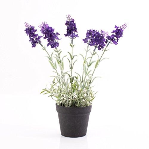 artplants Künstlicher Lavendel im Topf, dunkelviolett, 29 cm – Kunstblume/Deko Blume