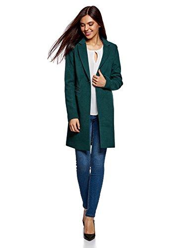 oodji Ultra Damen Klassischer Mantel mit Ein-Knopf-Verschluss, Grün, DE 32 / EU 34 / XXS (Grüner Mantel Für Frauen)