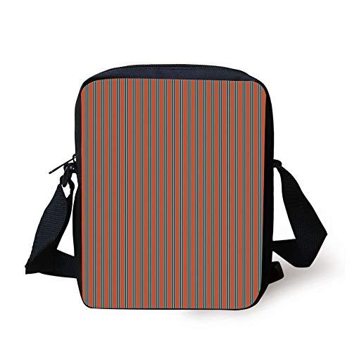 ZKHTO Geometric,Vertical Stripes with Warm Toned Backdrop Ornamental Lines Art Design Decorative,Vermilion Blue Black Print Kids Crossbody Messenger Bag Purse Slim-duffle